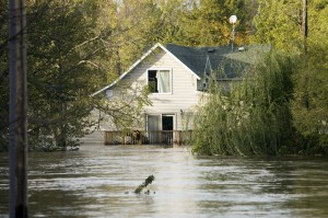 House flooded heavily by the storm.