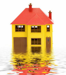 Flooded house caused by the heavy rains.
