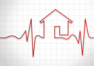 Heart beat rate to a shape of a house.