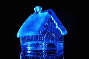 House sculpture made in ice.