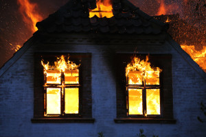 House damages caused by the fire.