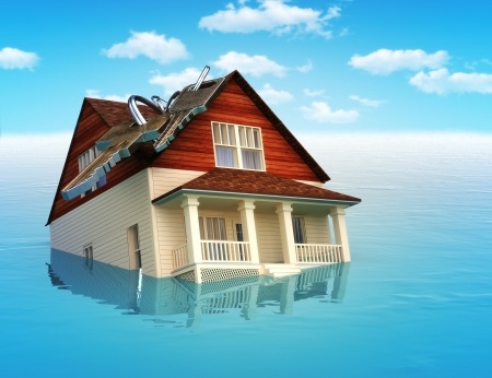 House damages caused by flood or water leak.